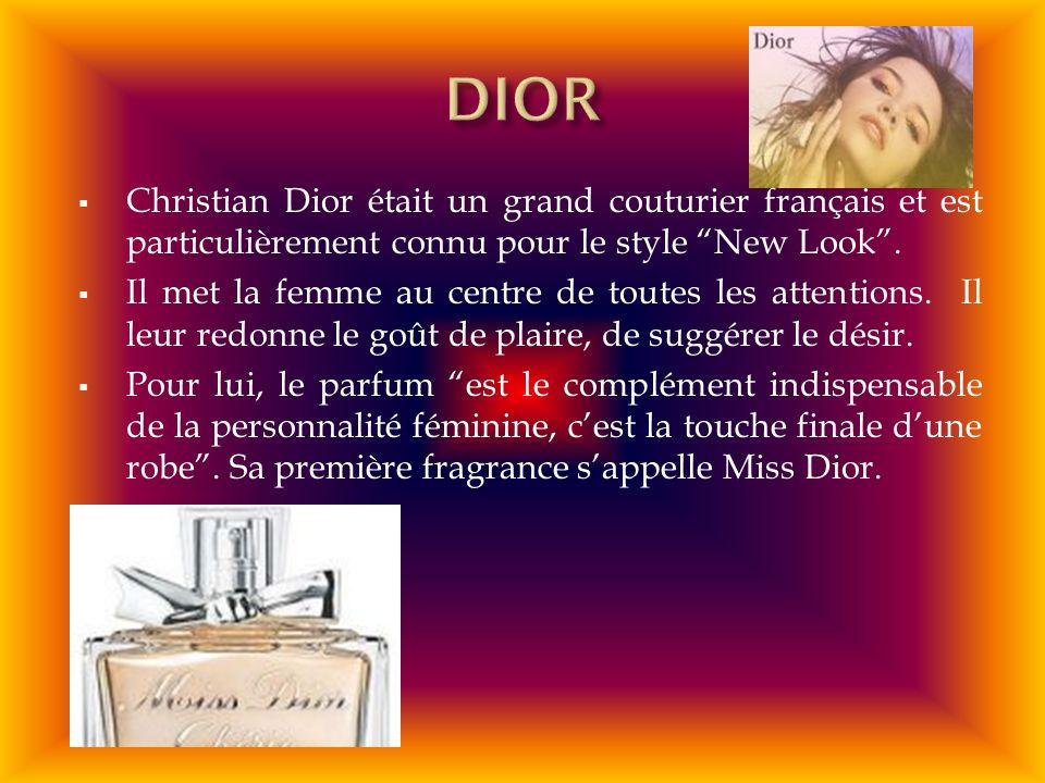 DIOR Christian Dior était un grand couturier français et est particulièrement connu pour le style New Look .