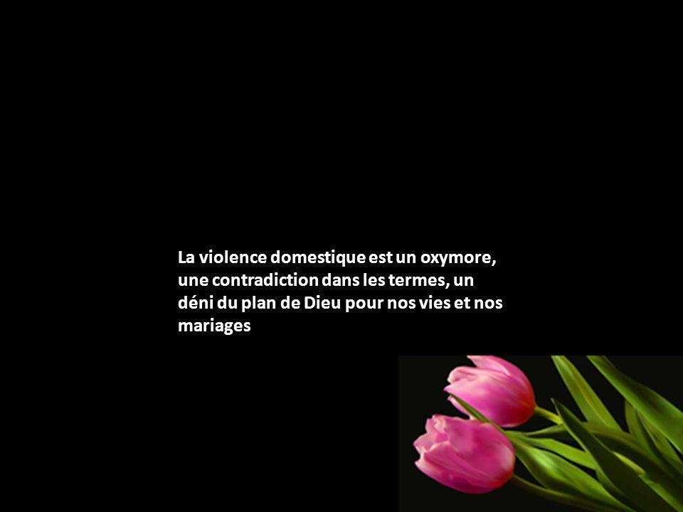 La violence domestique est un oxymore, une contradiction dans les termes, un déni du plan de Dieu pour nos vies et nos mariages