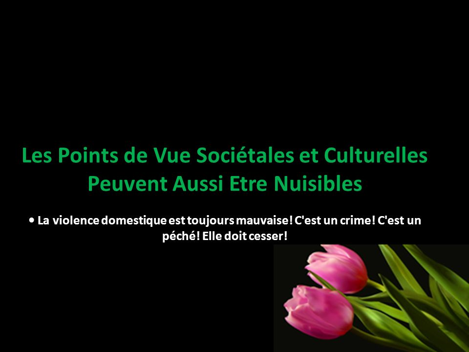 Les Points de Vue Sociétales et Culturelles Peuvent Aussi Etre Nuisibles