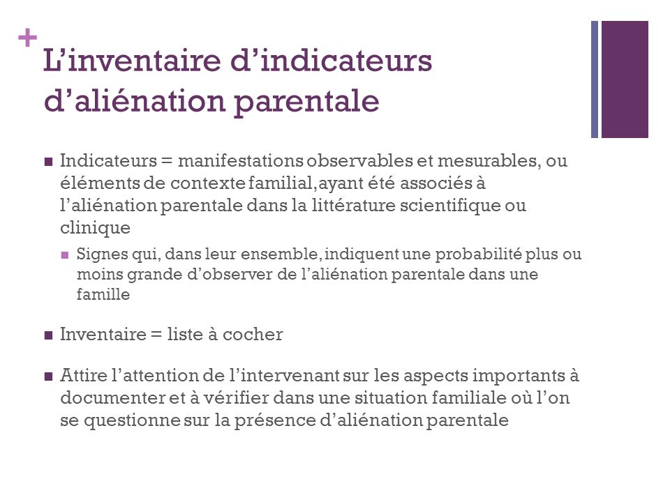 L'inventaire d'indicateurs d'aliénation parentale
