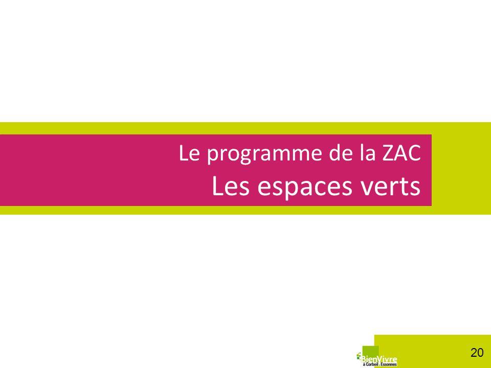 Les espaces verts Le programme de la ZAC 20