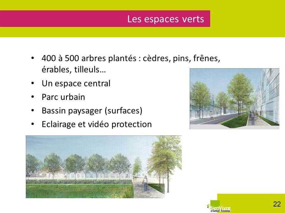 Les espaces verts 400 à 500 arbres plantés : cèdres, pins, frênes, érables, tilleuls… Un espace central.