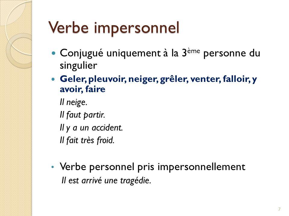 Verbe impersonnel Conjugué uniquement à la 3ème personne du singulier