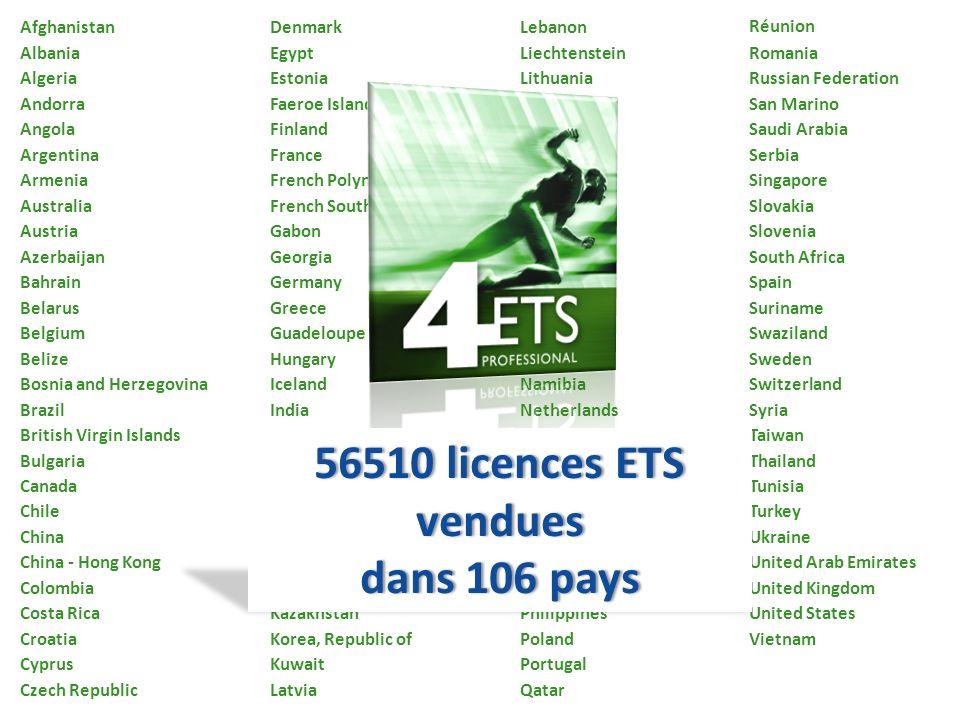 56510 licences ETS vendues dans 106 pays