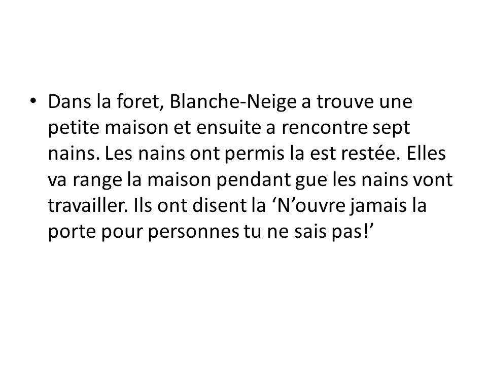 Dans la foret, Blanche-Neige a trouve une petite maison et ensuite a rencontre sept nains.