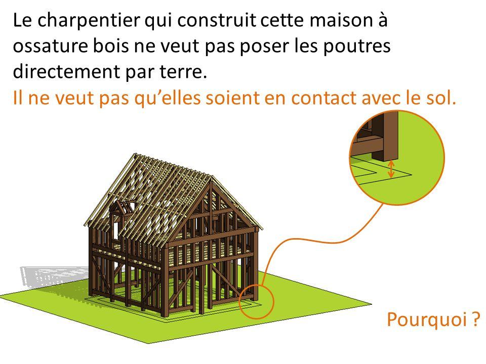 Le charpentier qui construit cette maison à ossature bois ne veut pas poser les poutres directement par terre.