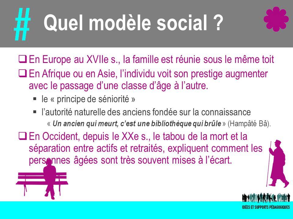 Quel modèle social En Europe au XVIIe s., la famille est réunie sous le même toit.