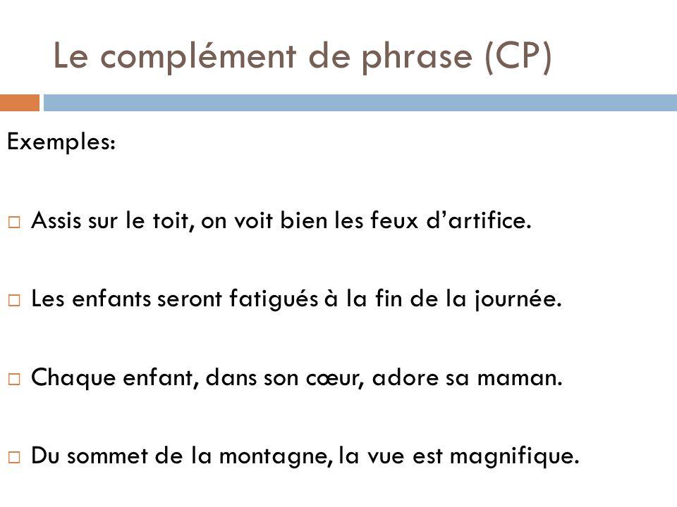 Le complément de phrase (CP)