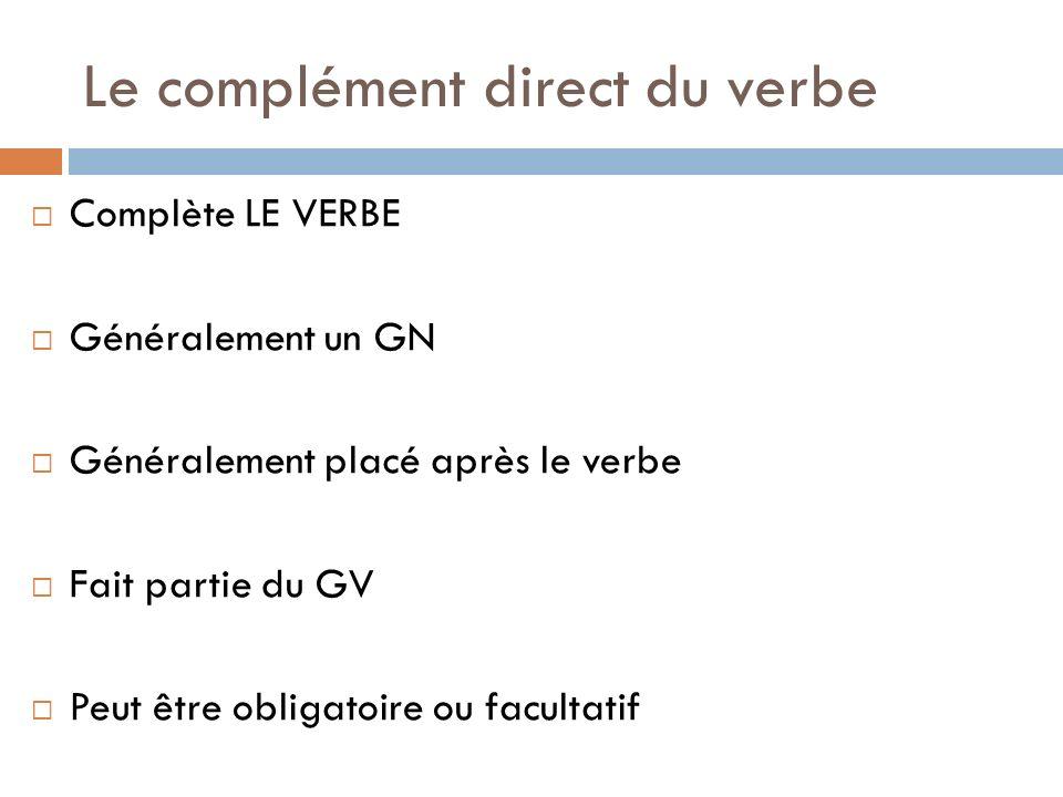 Le complément direct du verbe