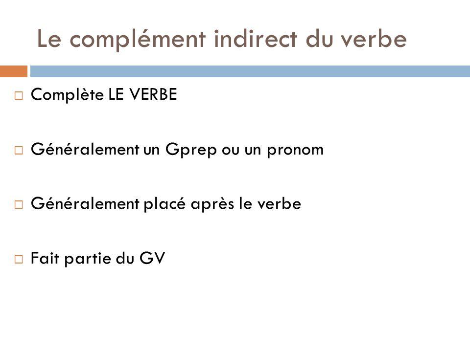 Le complément indirect du verbe