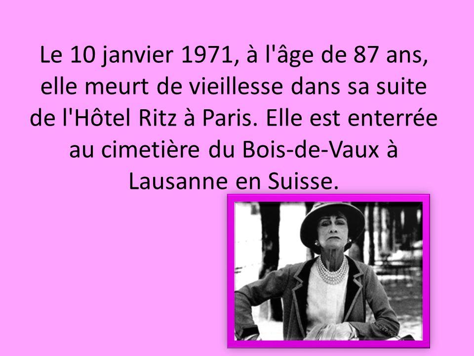 Le 10 janvier 1971, à l âge de 87 ans, elle meurt de vieillesse dans sa suite de l Hôtel Ritz à Paris.
