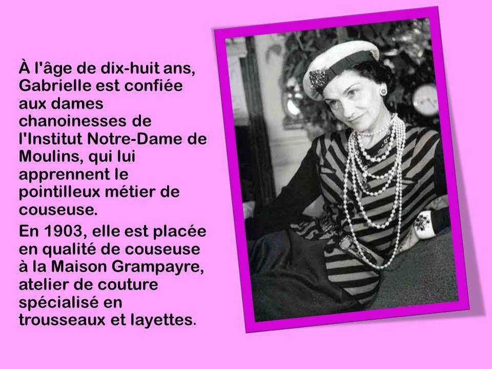 À l âge de dix-huit ans, Gabrielle est confiée aux dames chanoinesses de l Institut Notre-Dame de Moulins, qui lui apprennent le pointilleux métier de couseuse.