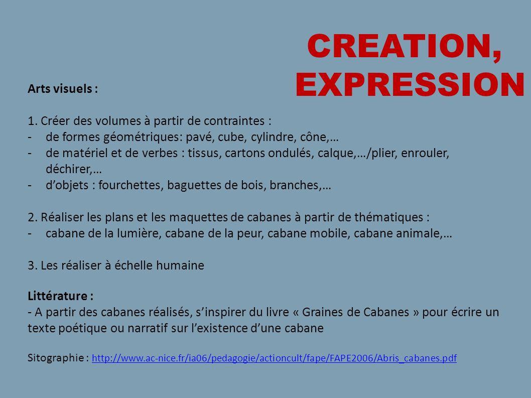 CREATION, EXPRESSION Arts visuels :