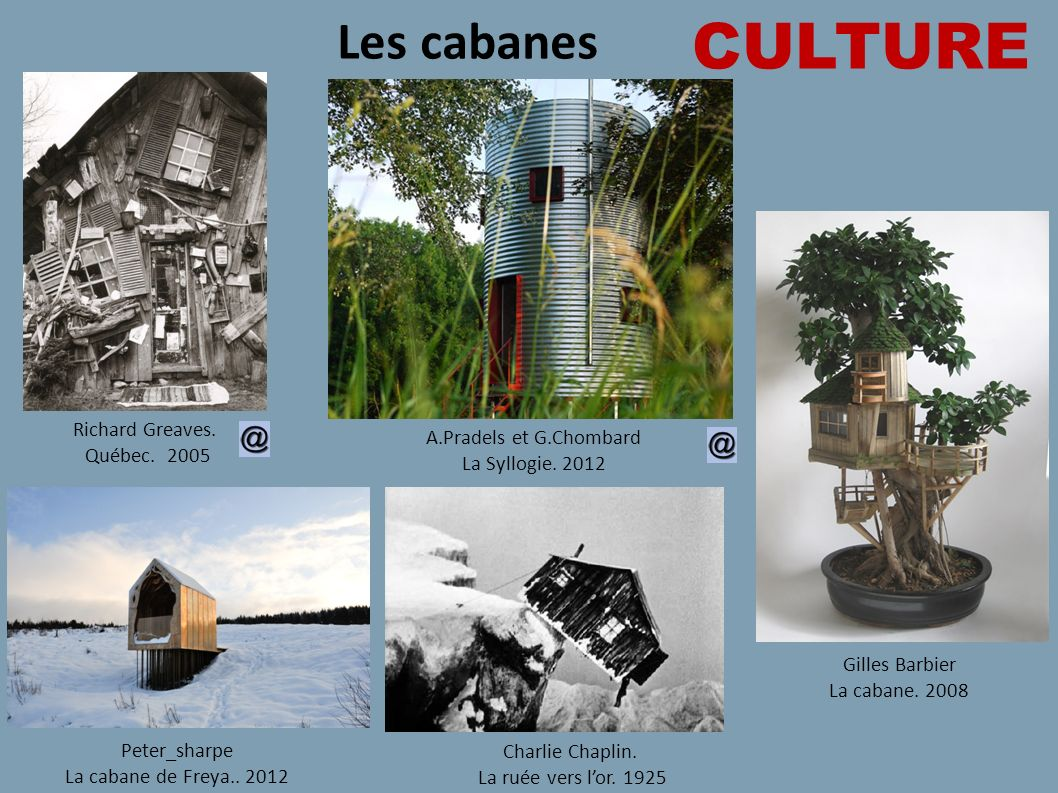 CULTURE Les cabanes Richard Greaves. A.Pradels et G.Chombard