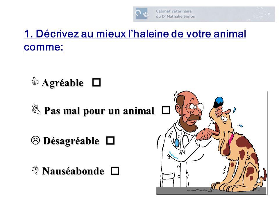 1. Décrivez au mieux l'haleine de votre animal comme: