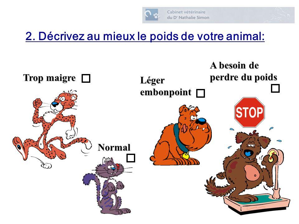 2. Décrivez au mieux le poids de votre animal: