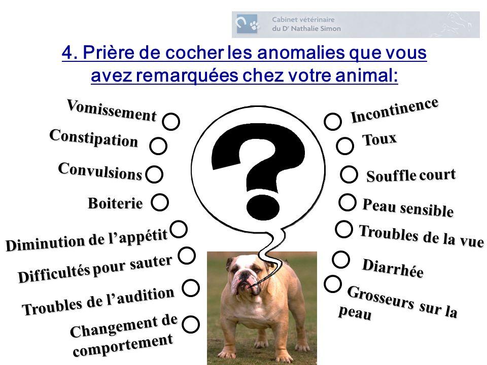 4. Prière de cocher les anomalies que vous avez remarquées chez votre animal: