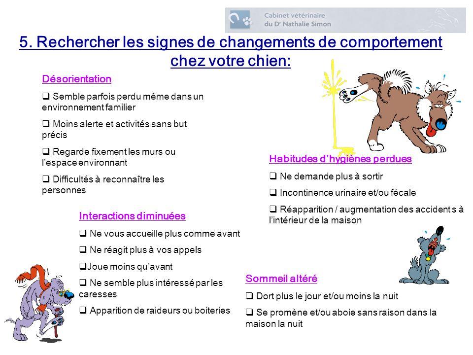 5. Rechercher les signes de changements de comportement chez votre chien: