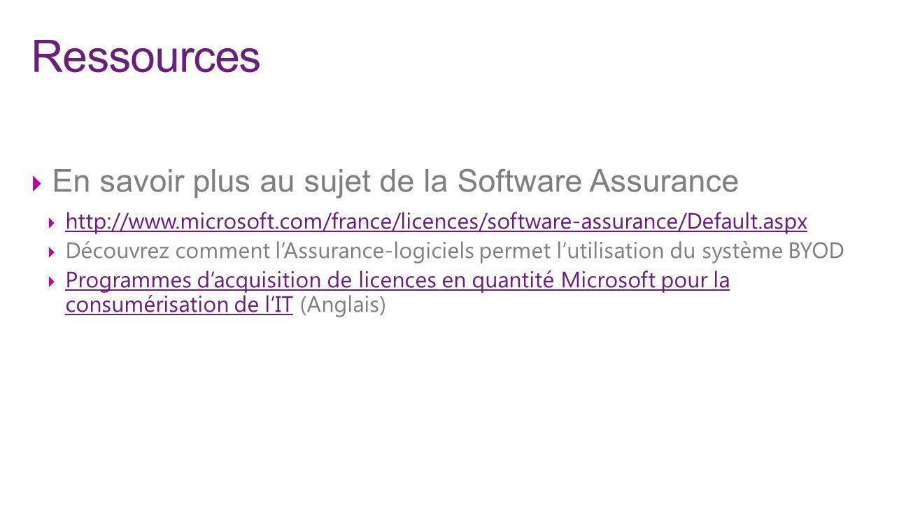 Ressources En savoir plus au sujet de la Software Assurance