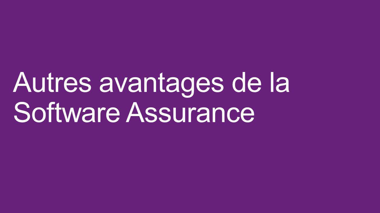 Autres avantages de la Software Assurance