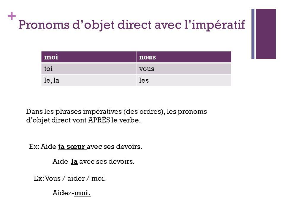 Pronoms d'objet direct avec l'impératif