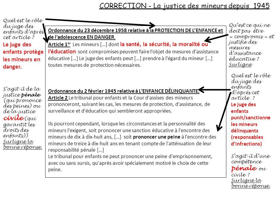 CORRECTION - La justice des mineurs depuis 1945