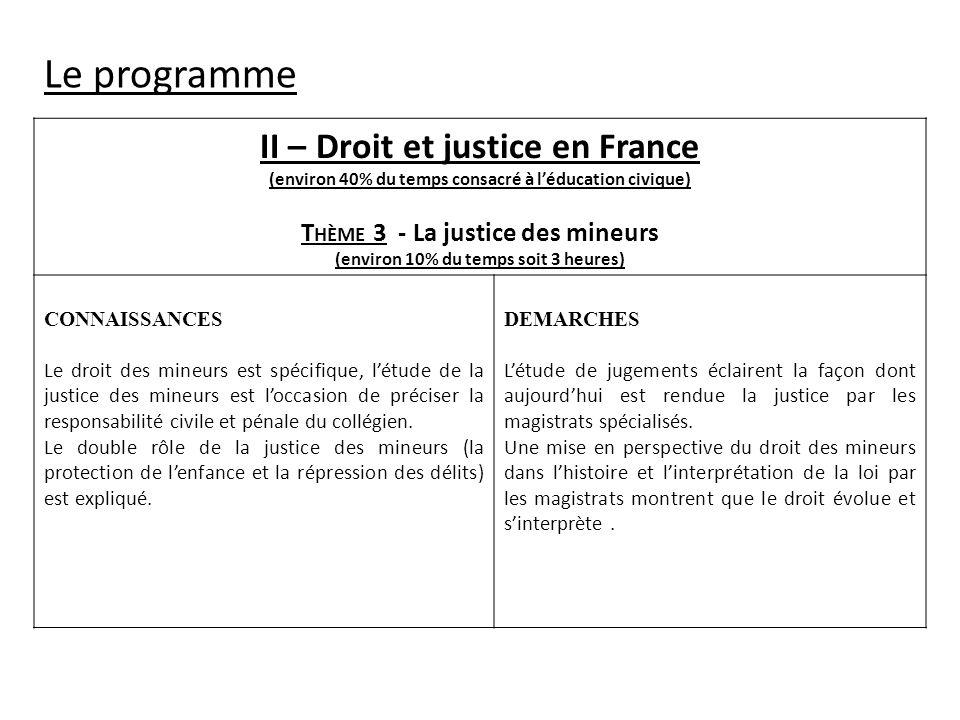 Le programme II – Droit et justice en France