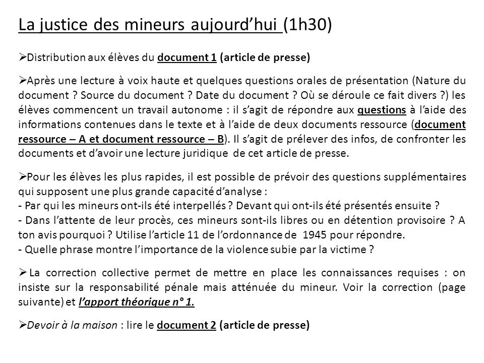 La justice des mineurs aujourd'hui (1h30)