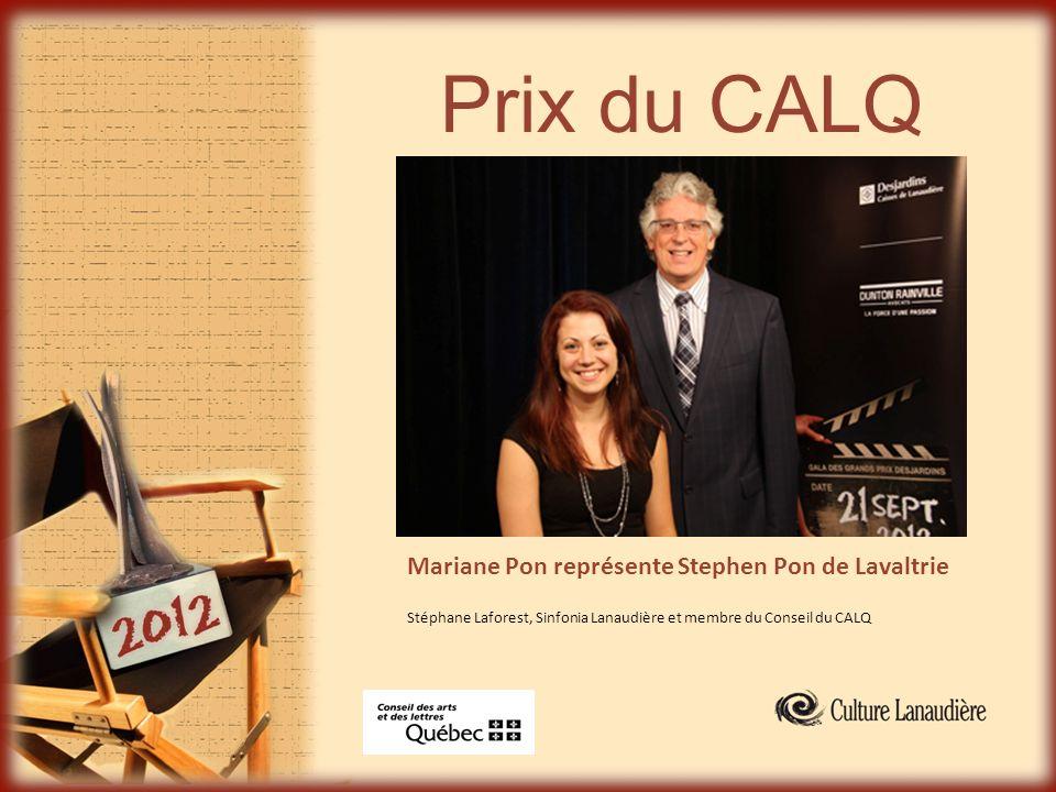 Prix du CALQ Mariane Pon représente Stephen Pon de Lavaltrie