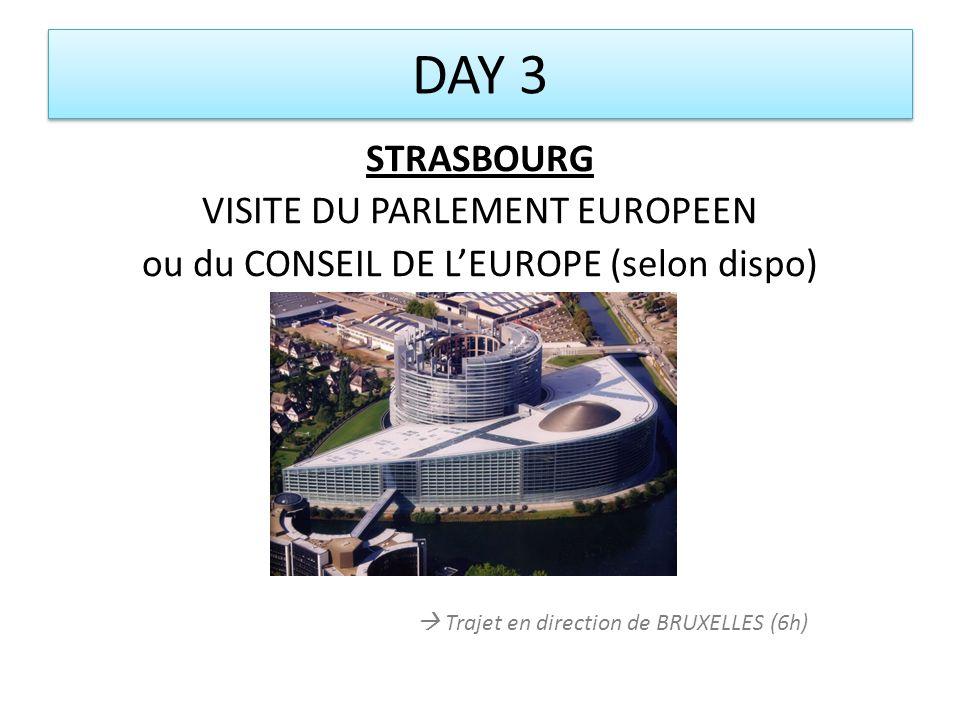 DAY 3 STRASBOURG VISITE DU PARLEMENT EUROPEEN ou du CONSEIL DE L'EUROPE (selon dispo)  Trajet en direction de BRUXELLES (6h)