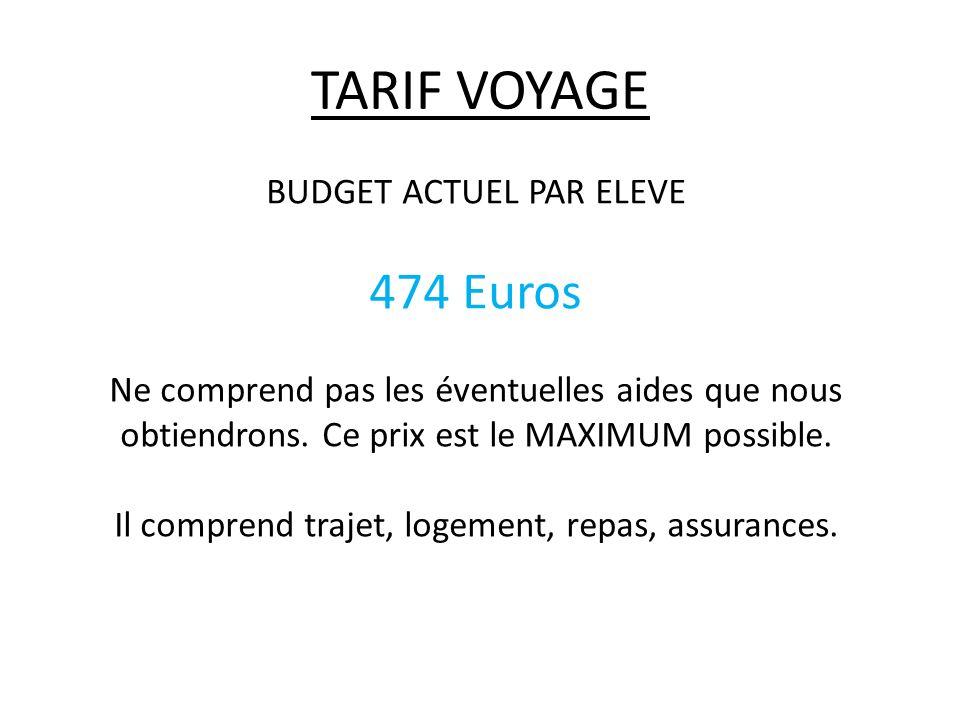 TARIF VOYAGE 474 Euros BUDGET ACTUEL PAR ELEVE