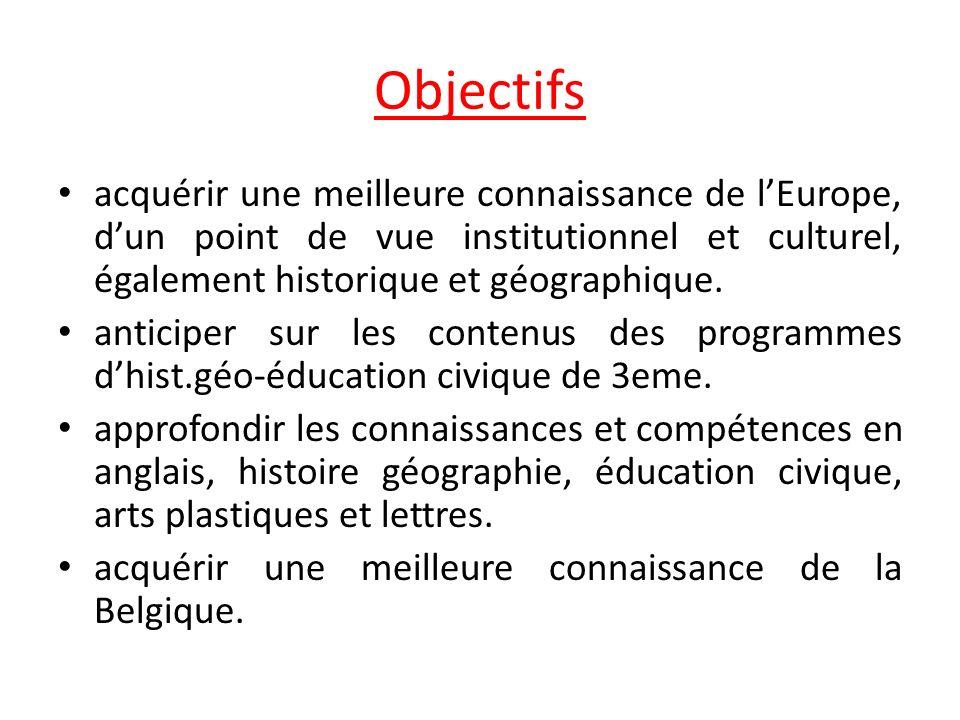 Objectifs acquérir une meilleure connaissance de l'Europe, d'un point de vue institutionnel et culturel, également historique et géographique.