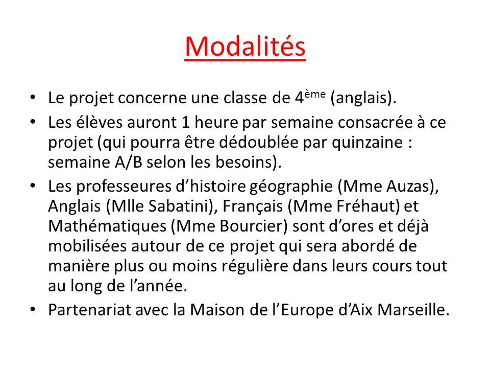 Modalités Le projet concerne une classe de 4ème (anglais).