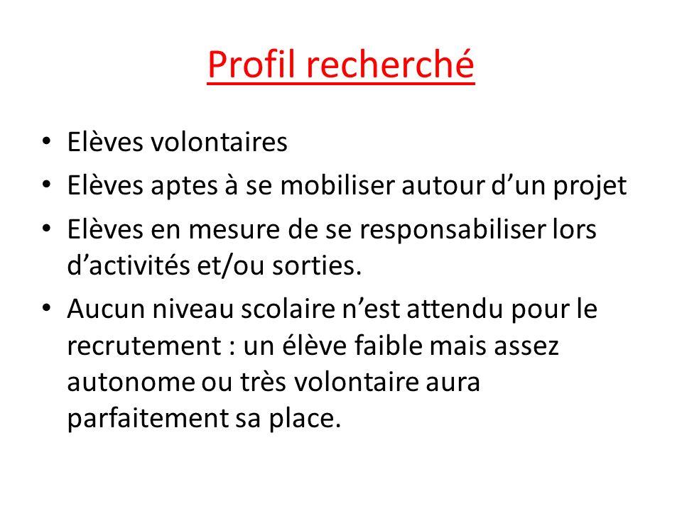 Profil recherché Elèves volontaires