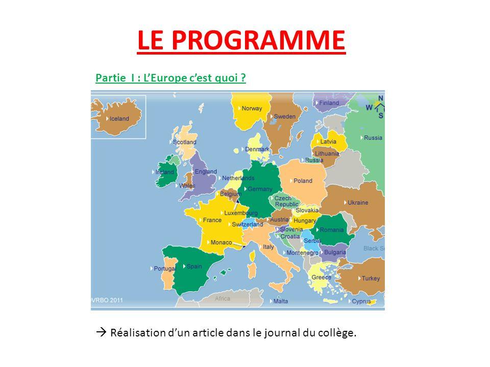 LE PROGRAMME Partie I : L'Europe c'est quoi