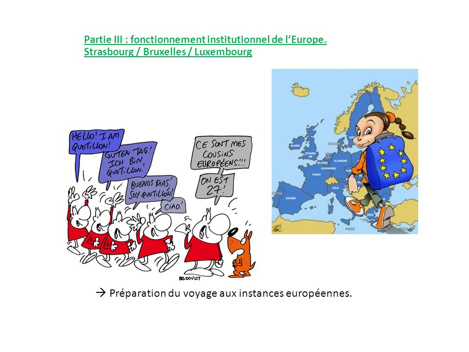  Préparation du voyage aux instances européennes.