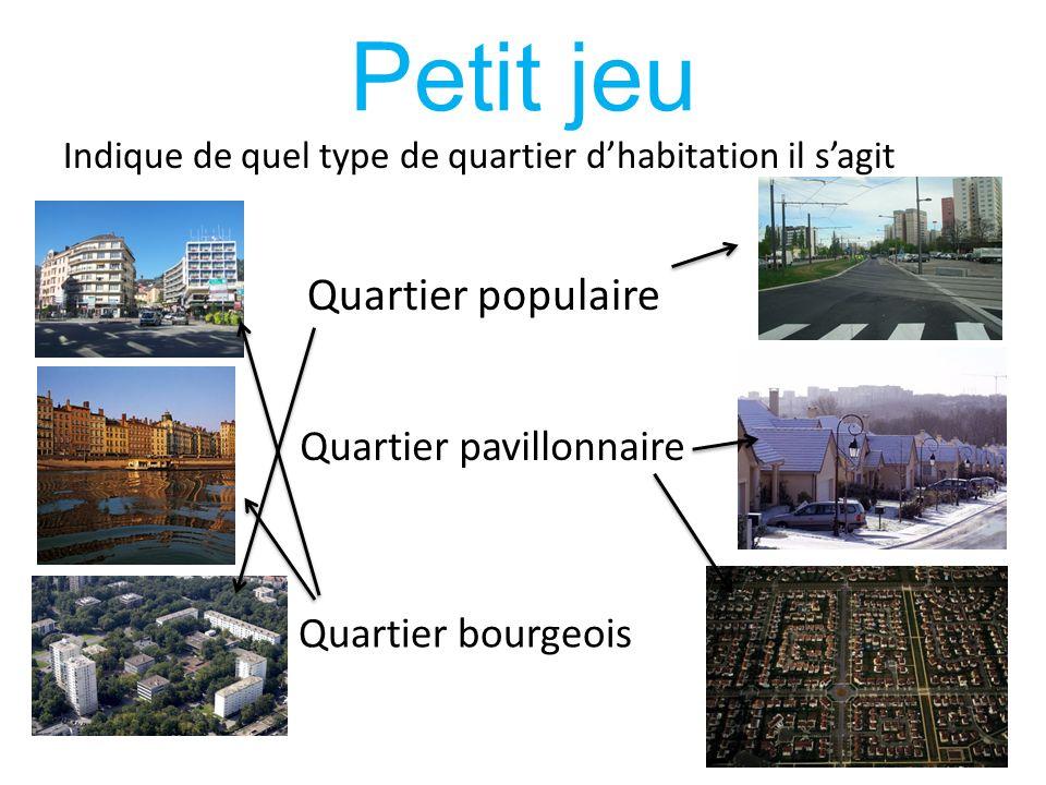 Petit jeu Quartier populaire Quartier pavillonnaire Quartier bourgeois