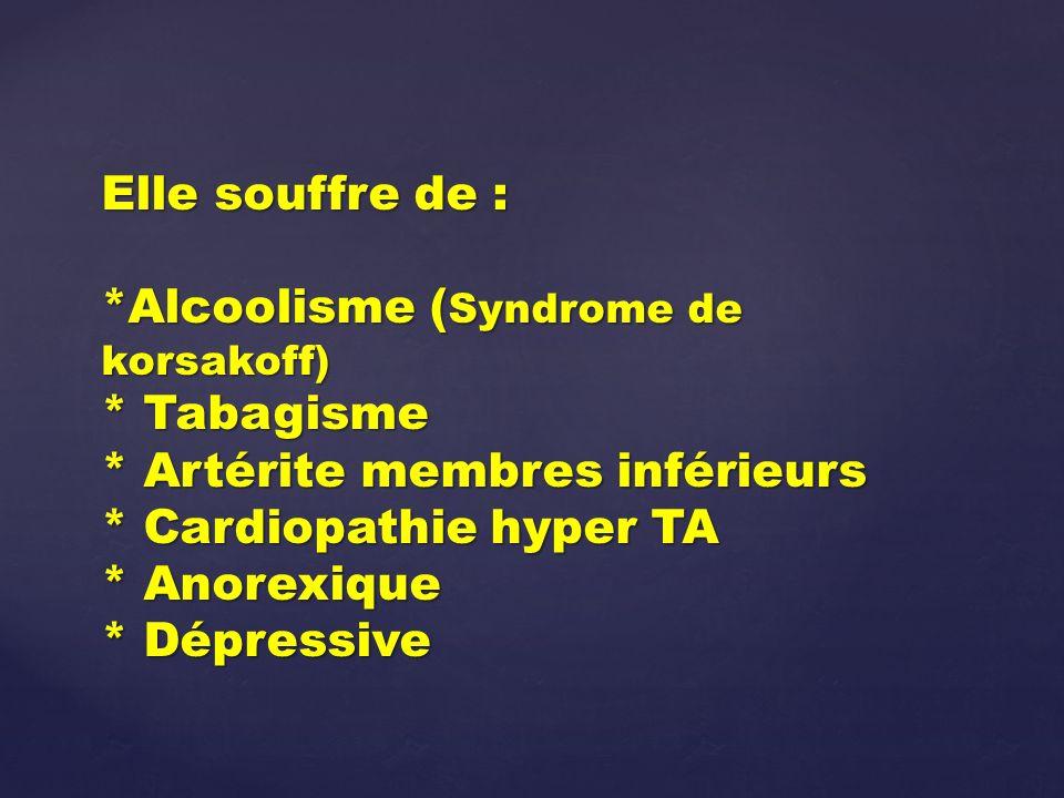 Elle souffre de :. Alcoolisme (Syndrome de korsakoff). Tabagisme