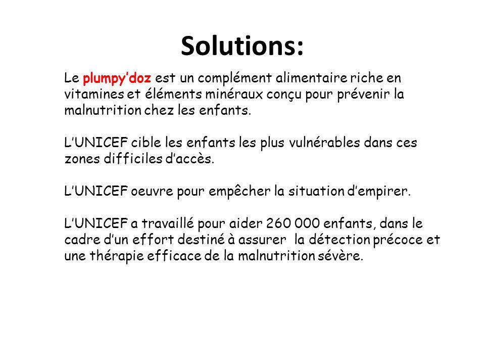 Solutions: Le plumpy'doz est un complément alimentaire riche en vitamines et éléments minéraux conçu pour prévenir la malnutrition chez les enfants.