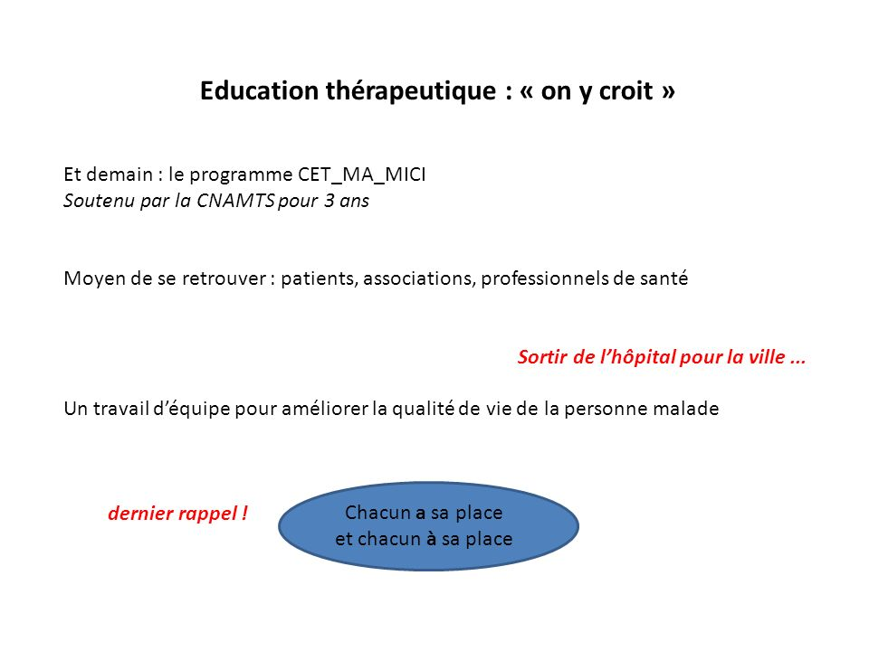 Education thérapeutique : « on y croit »