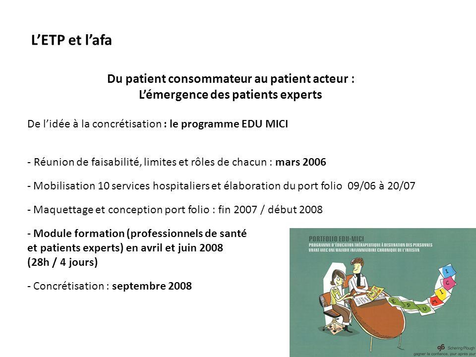 L'ETP et l'afa Du patient consommateur au patient acteur :