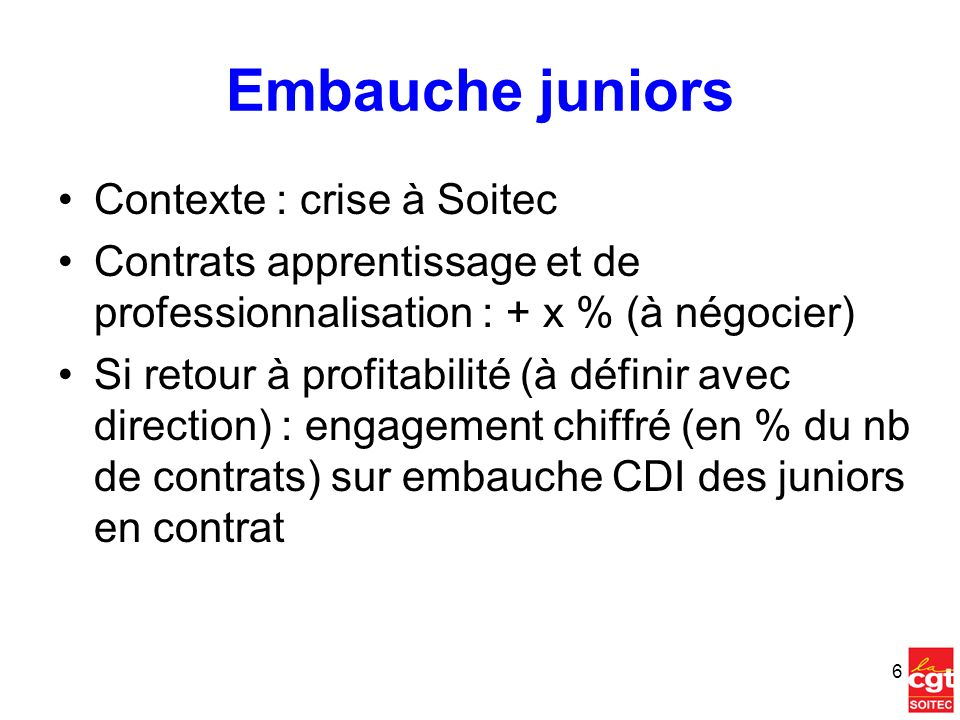 Embauche juniors Contexte : crise à Soitec
