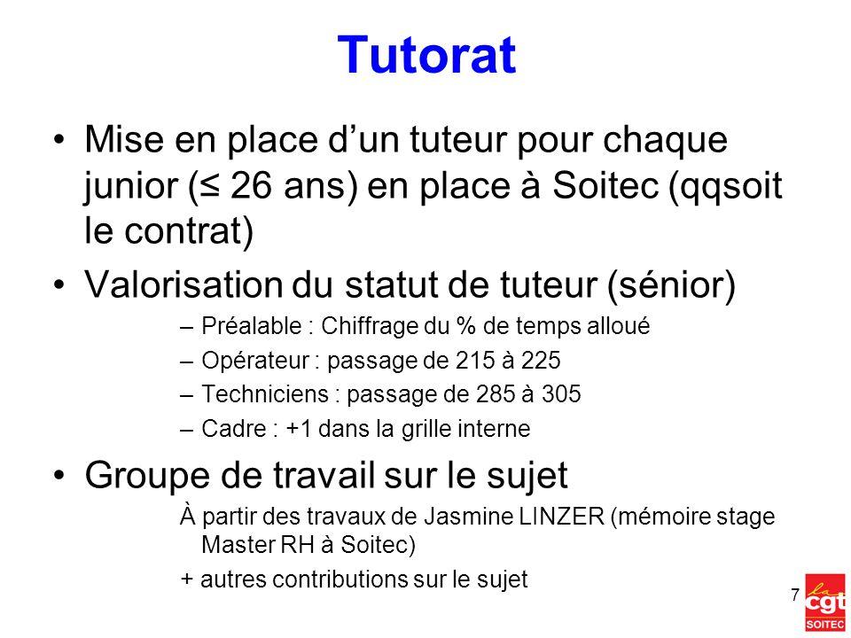Tutorat Mise en place d'un tuteur pour chaque junior (≤ 26 ans) en place à Soitec (qqsoit le contrat)