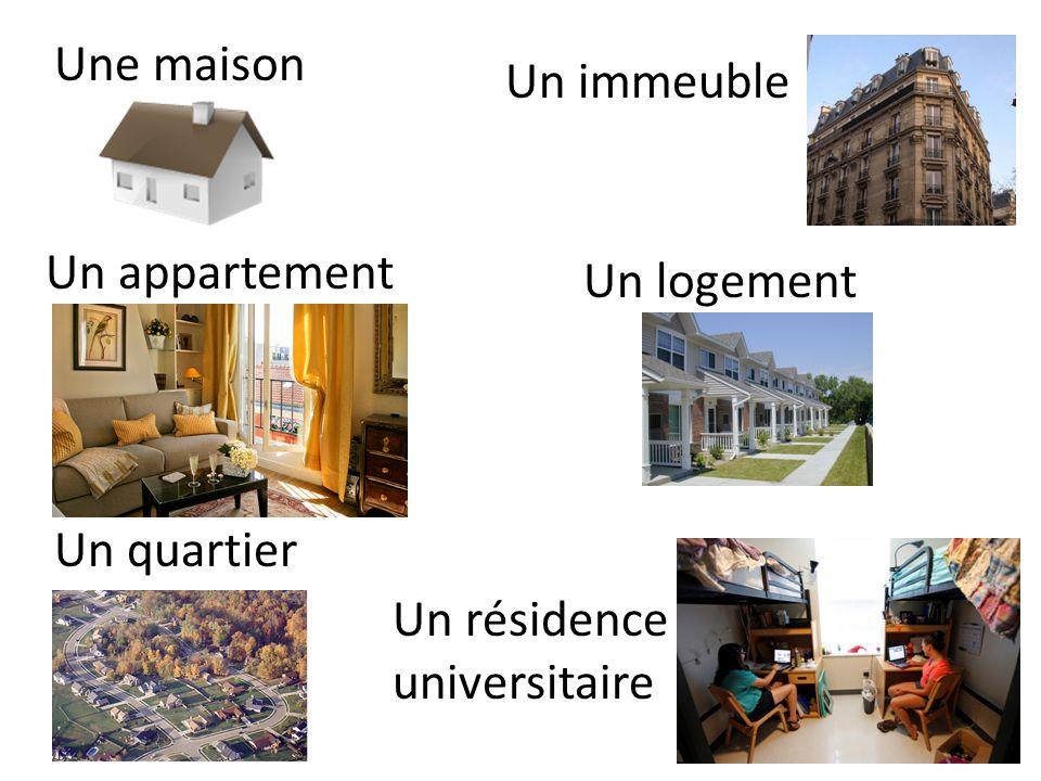 Une maison Un immeuble Un appartement Un logement Un quartier Un résidence universitaire