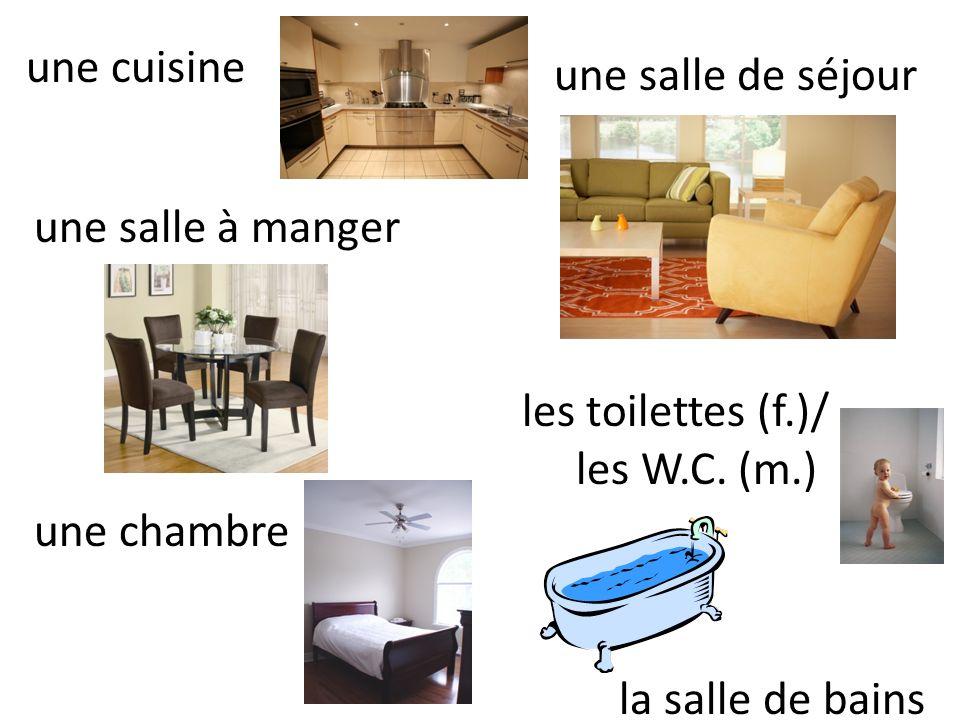 une cuisine une salle de séjour. une salle à manger. les toilettes (f.)/ les W.C. (m.) la salle de bains.