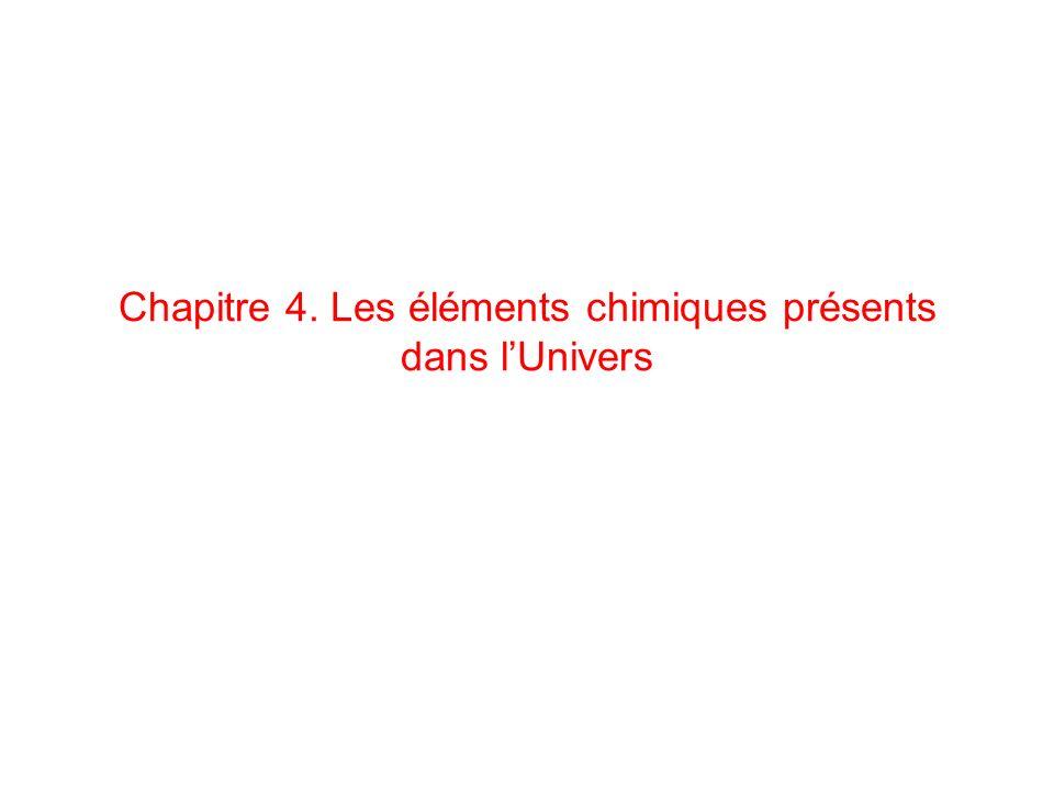 Chapitre 4. Les éléments chimiques présents dans l'Univers