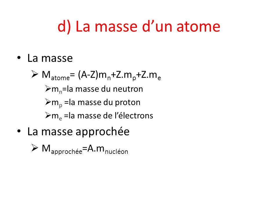 d) La masse d'un atome La masse La masse approchée