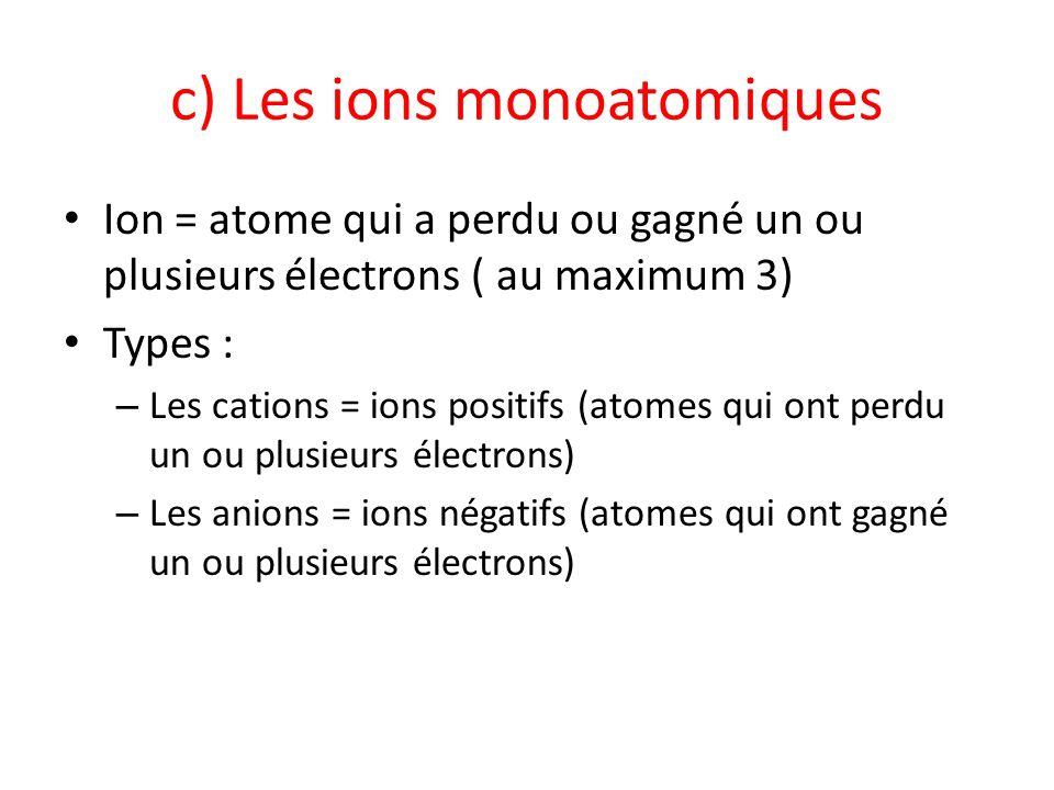 c) Les ions monoatomiques