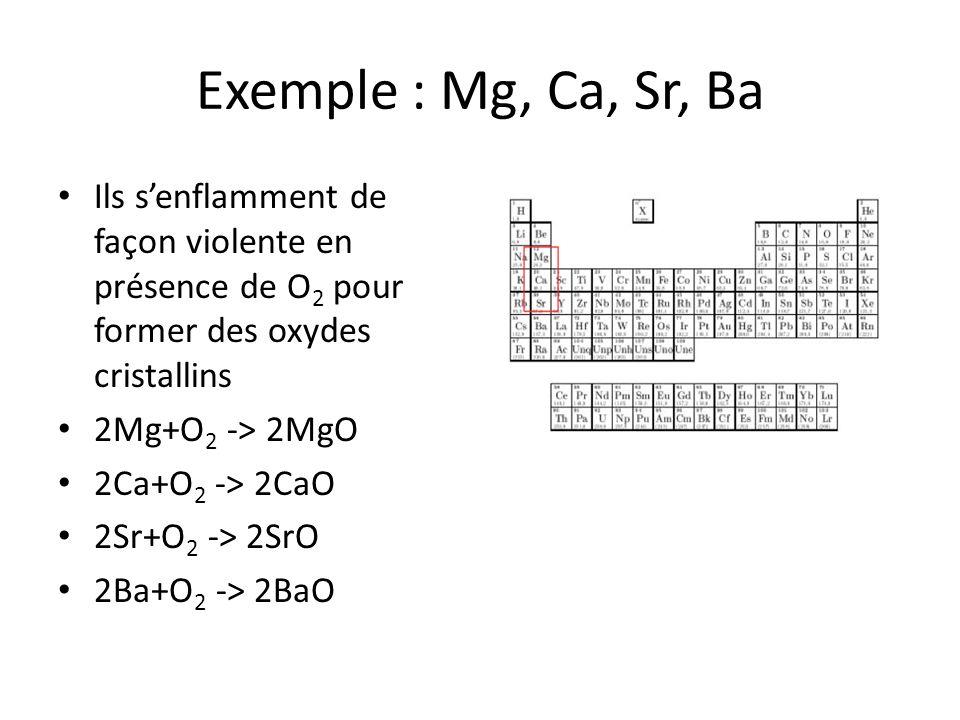 Exemple : Mg, Ca, Sr, Ba Ils s'enflamment de façon violente en présence de O2 pour former des oxydes cristallins.