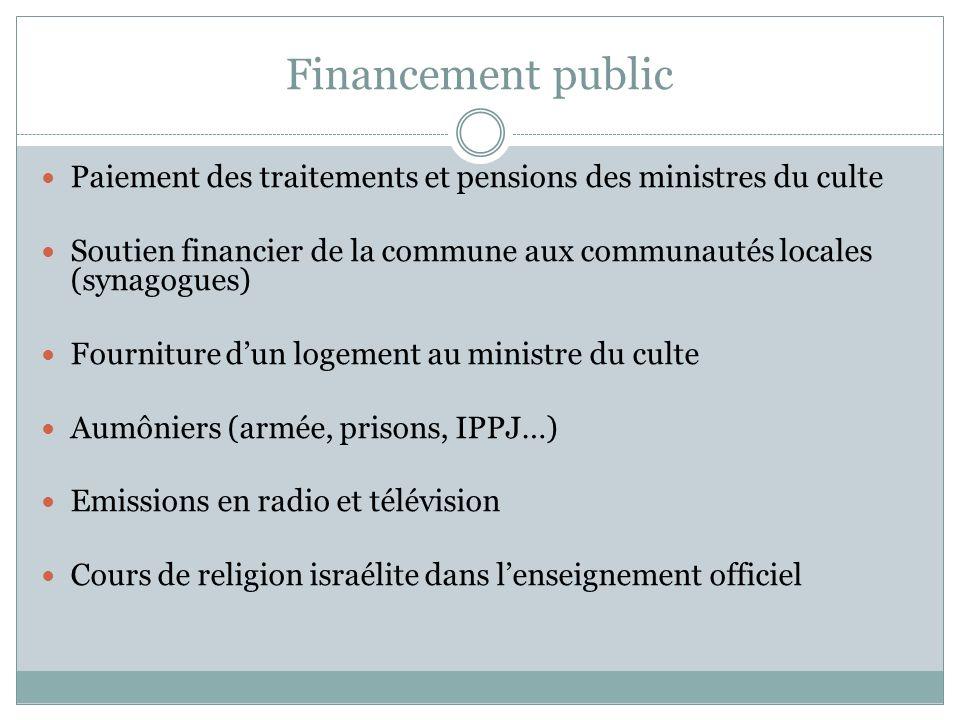 Financement public Paiement des traitements et pensions des ministres du culte. Soutien financier de la commune aux communautés locales (synagogues)